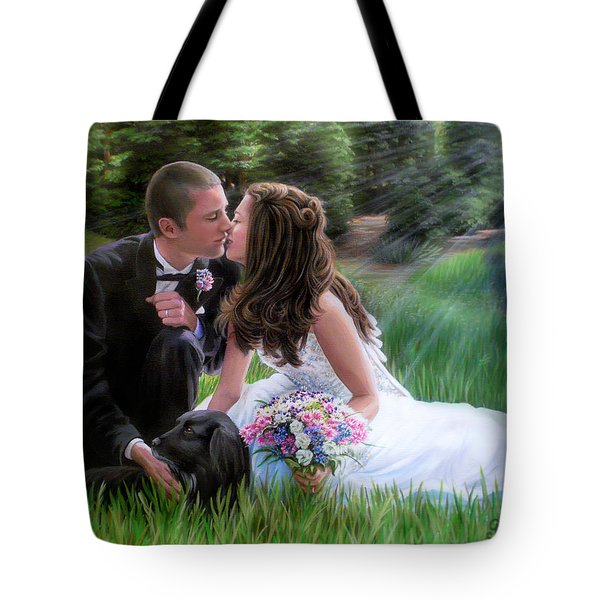 Tote Bag featuring the painting Smith Wedding Portrait by Jane Girardot