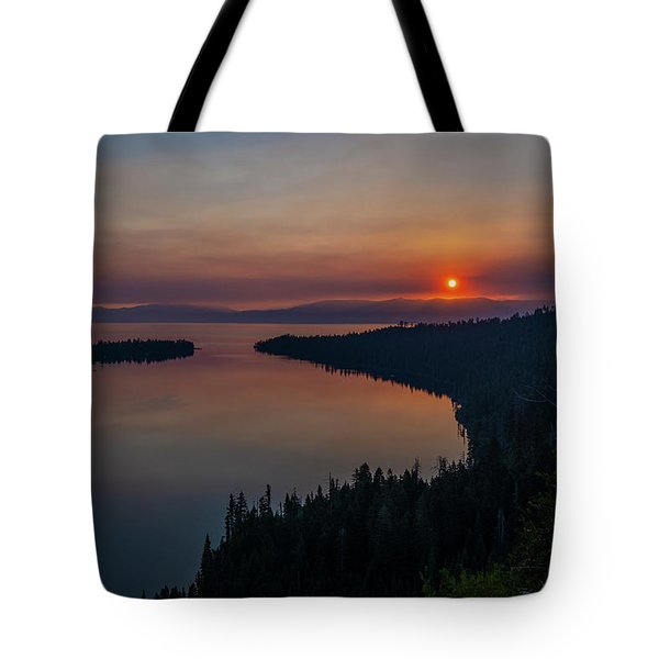 Smoke-diffused Sun At Emerald Bay Tote Bag