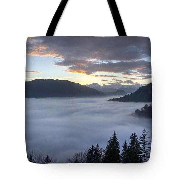 Tote Bag featuring the photograph Smoke In The Valley Fire In The Sky by Peter Thoeny