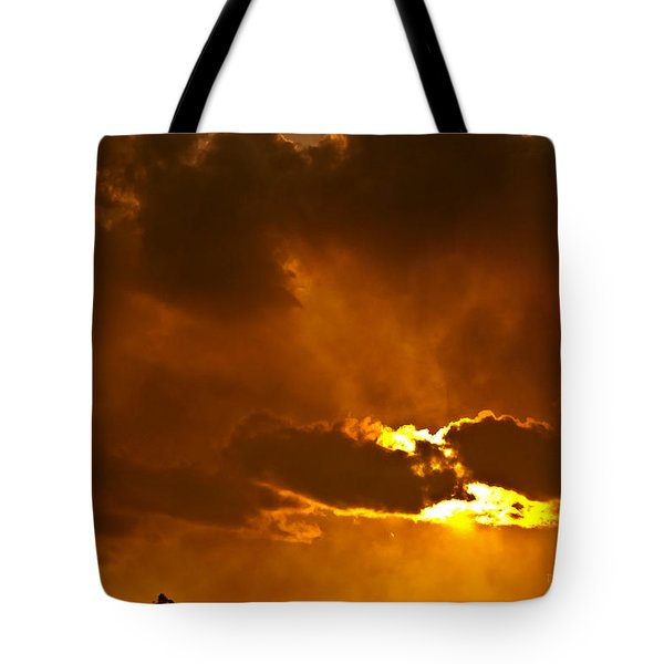 Smoke On The Horizon Tote Bag by DigiArt Diaries by Vicky B Fuller