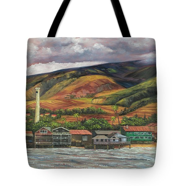 Tote Bag featuring the painting Smokestack Lahaina Maui by Darice Machel McGuire