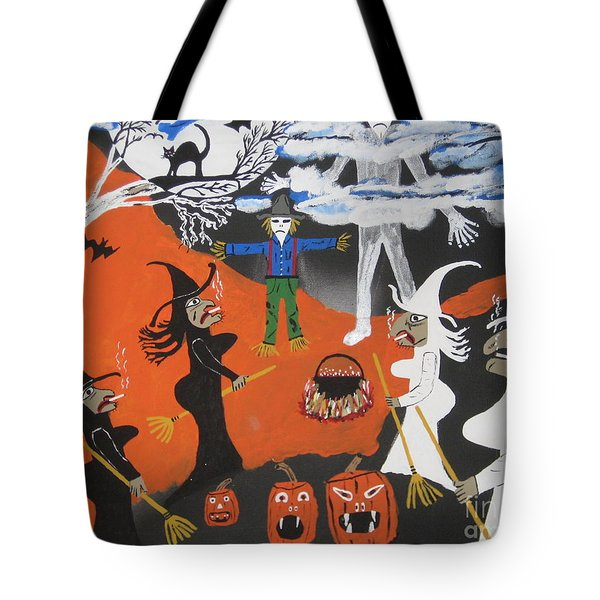 Tote Bag featuring the painting Smokey Halloween by Jeffrey Koss