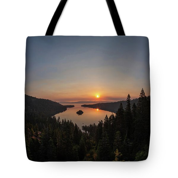 Smokey Sunrise At Emerald Bay Tote Bag
