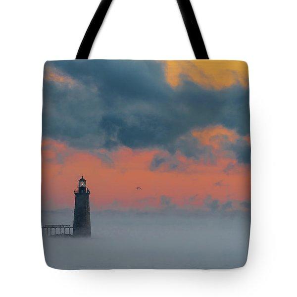 Smokey Sunrise At Ram Island Ledge Light Tote Bag