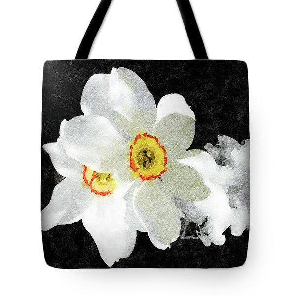 Smokey White Floral Tote Bag