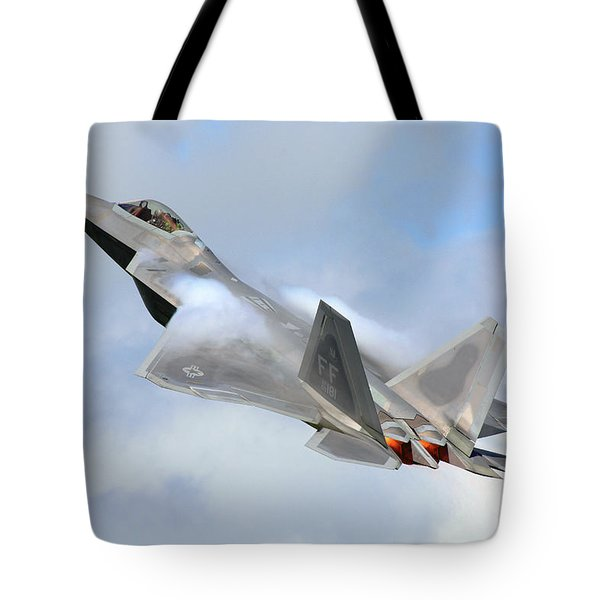Tote Bag featuring the digital art Smokin - F22 Raptor On The Go by Pat Speirs