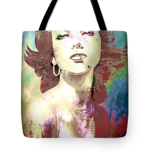 Tote Bag featuring the digital art Smoking Chick by Greg Sharpe