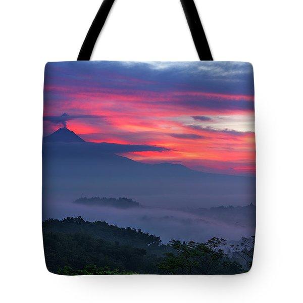Tote Bag featuring the photograph Smoking Volcano And Borobudur Temple by Pradeep Raja Prints