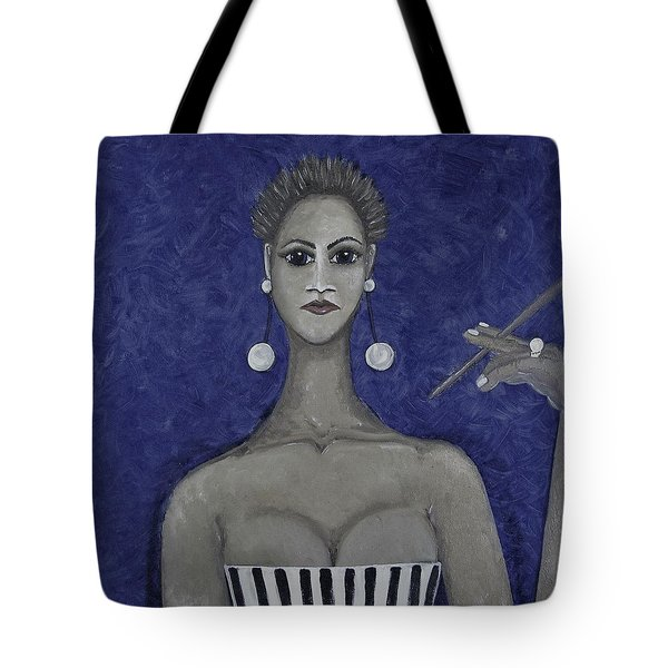 Smoking Woman 3 - Blue Tote Bag