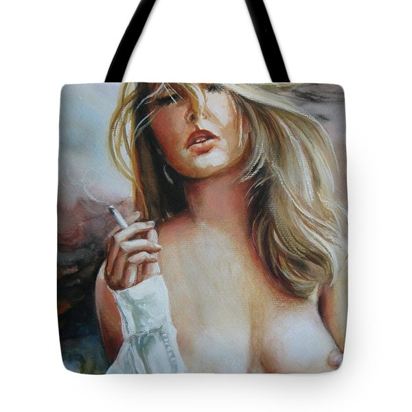 Tote Bag featuring the painting Smoking Woman by Elena Oleniuc