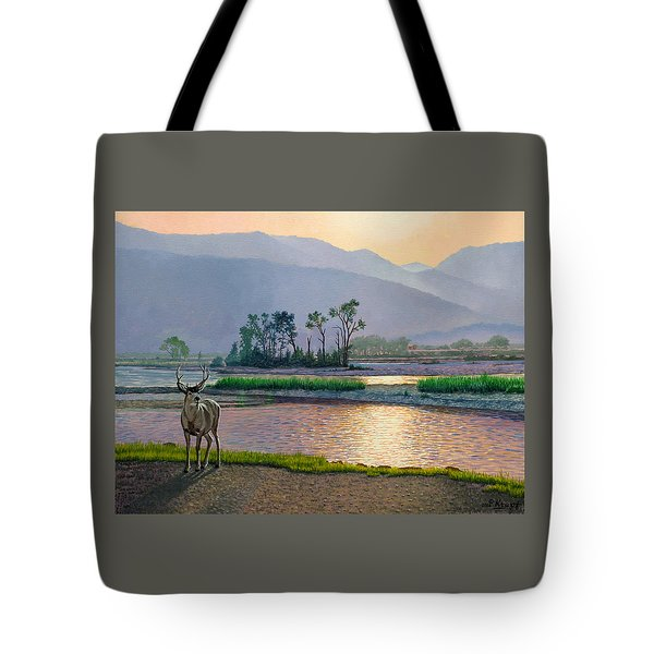 Smoky Morning Glitter Tote Bag by Paul Krapf