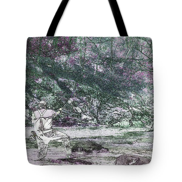 Tote Bag featuring the photograph Smoky Mountain Fisherman by Mike Eingle