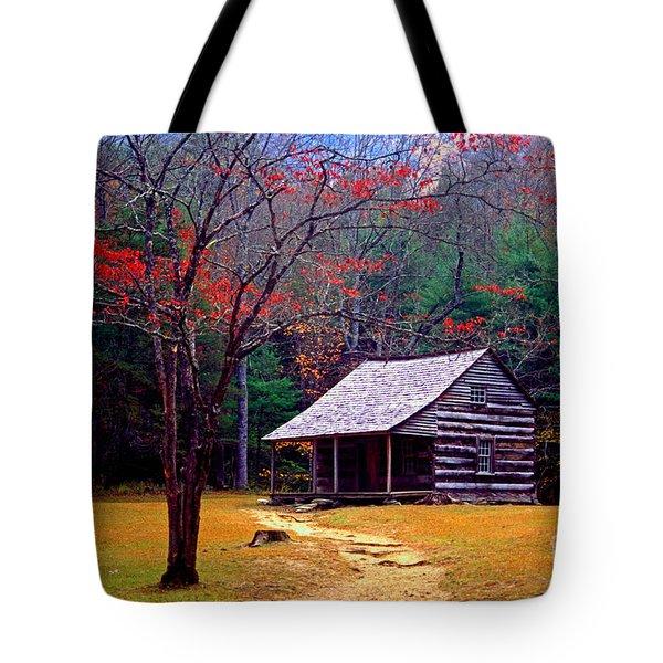 Smoky Mtn. Cabin Tote Bag