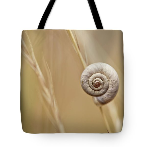 Snail On Autum Grass Blade Tote Bag