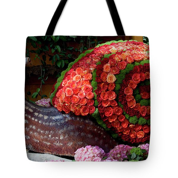 Snail With Flowers Tote Bag
