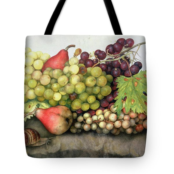 Snail With Grapes And Pears Tote Bag by Giovanna Garzoni