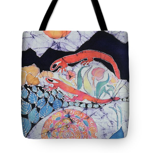 Snail With Red Efts Tote Bag by Carol  Law Conklin