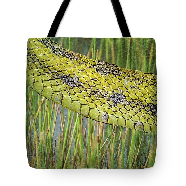 Tote Bag featuring the digital art Snake In The Grass Textures by Richard Goldman