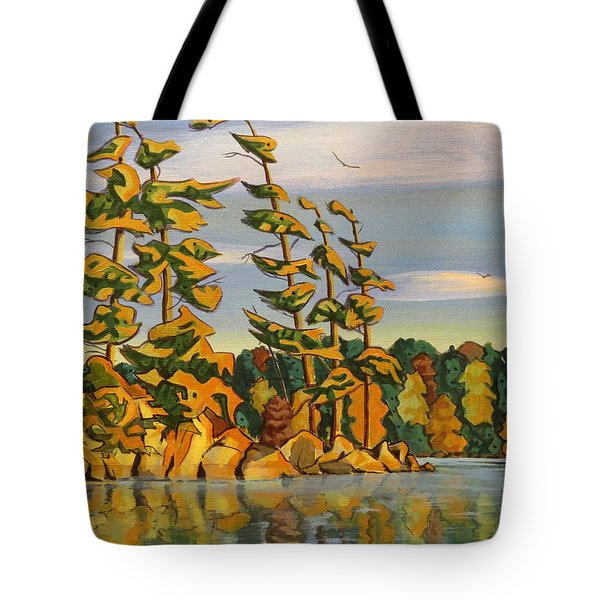Snake Island In Fall Sunset Tote Bag