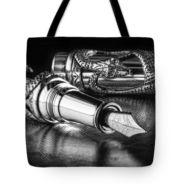 Snake Pen In Black And White Tote Bag