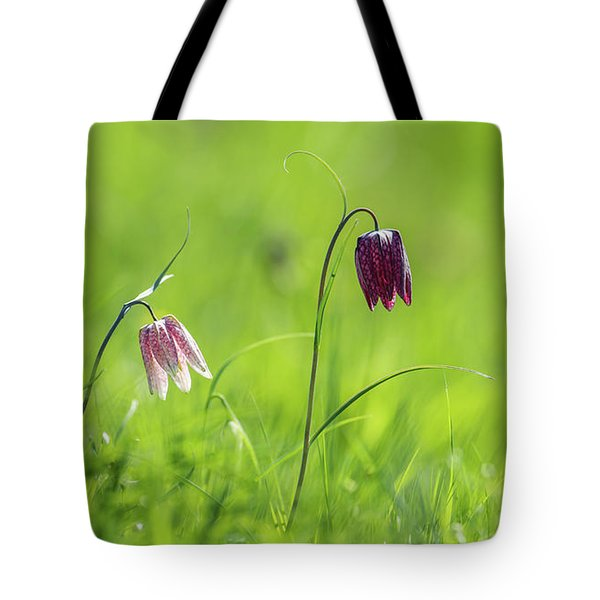 Snake's Head Pink And Purple Bells Tote Bag