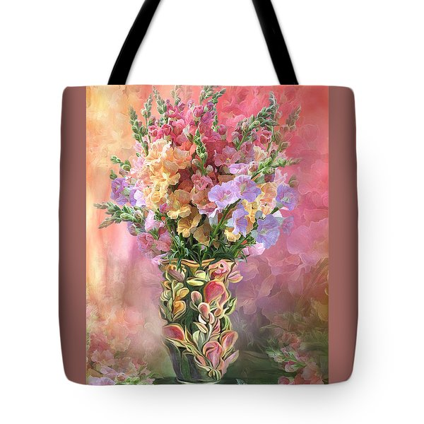 Tote Bag featuring the mixed media Snapdragons In Snapdragon Vase by Carol Cavalaris