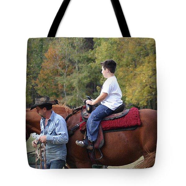Sneaker Wearing Cowboy Tote Bag by Kim Henderson