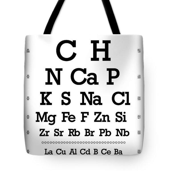 Snellen Chart - Chemical Abundance In Human Body Tote Bag by Martin Krzywinski