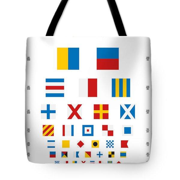 Snellen Chart - Nautical Flags Tote Bag by Martin Krzywinski