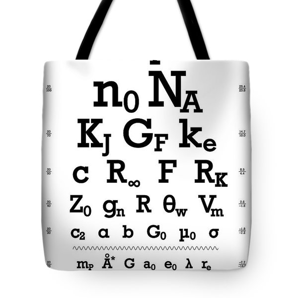Snellen Chart - Physical Constants Tote Bag by Martin Krzywinski