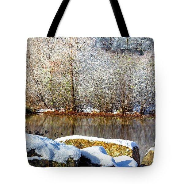 Snow Across The Lake Tote Bag