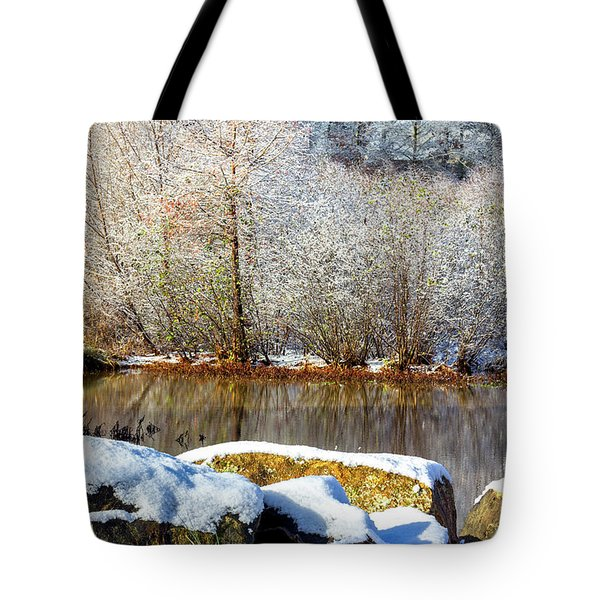 Snow Across The Lake Tote Bag