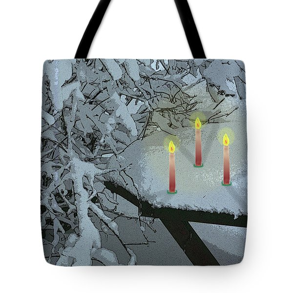 Snow And Candlelight Tote Bag