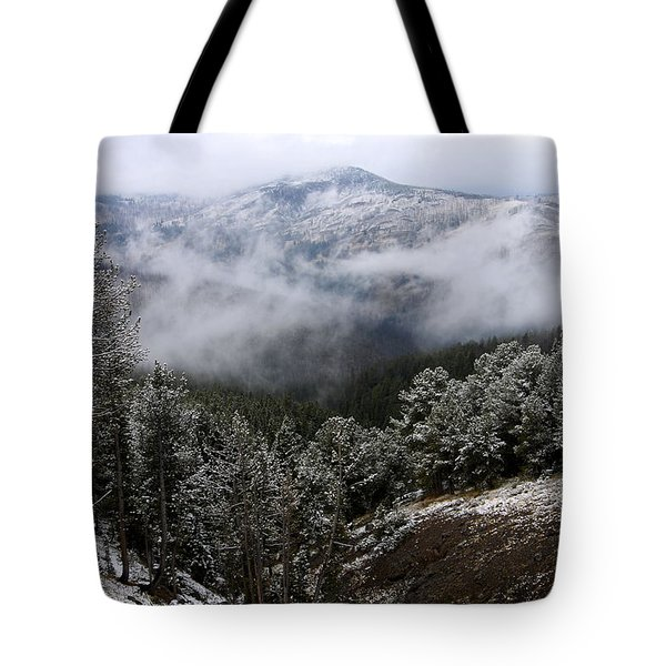 Snow And Clouds In The Mountains Tote Bag by Larry Ricker