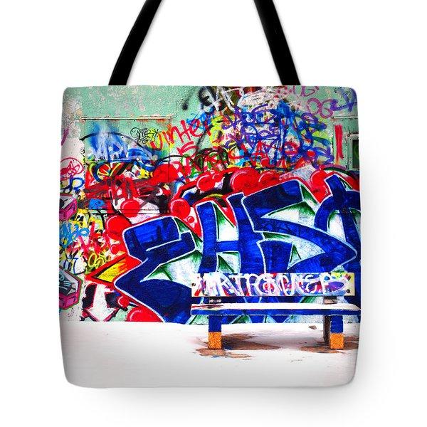 Snow And Graffiti Tote Bag