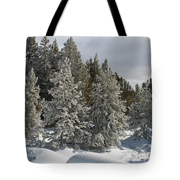 Snow And Ice Covered Evergreens At Sunset Lake  Tote Bag