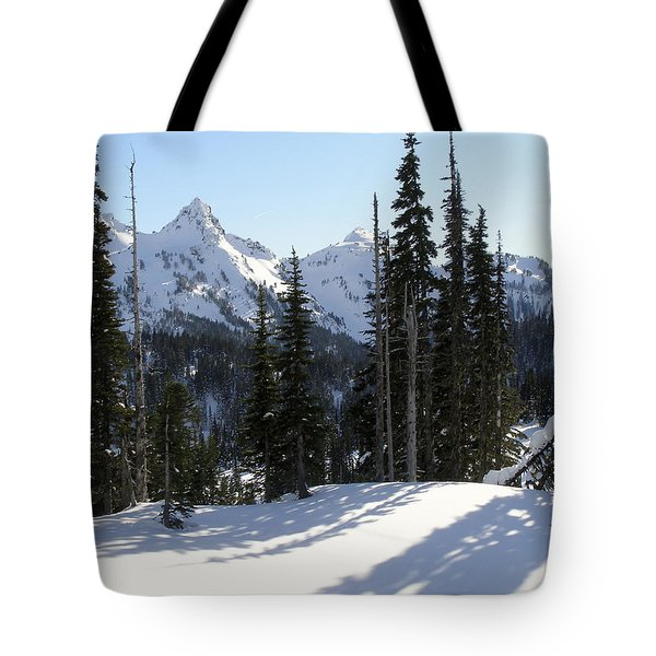 Snow And Shadows On The Mountain Tote Bag