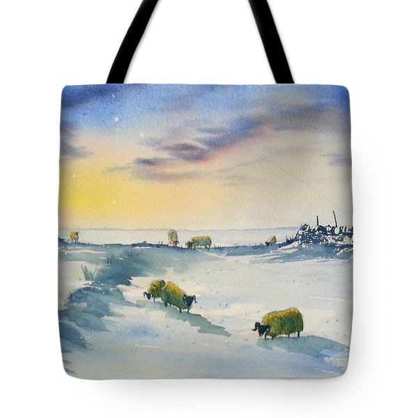 Snow And Sheep On The Moors Tote Bag