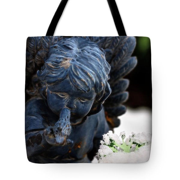 Tote Bag featuring the photograph Snow Angel Whisperer by Shelley Neff