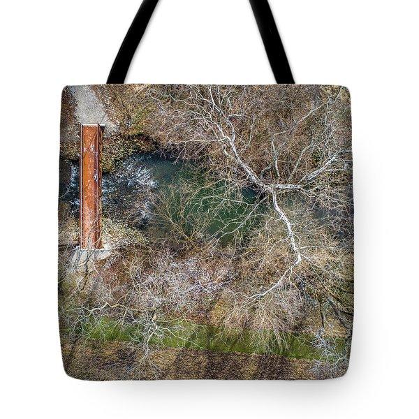 Snow Around The Creek Tote Bag
