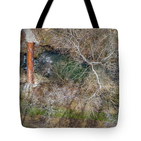 Snow Around The Creek Tote Bag