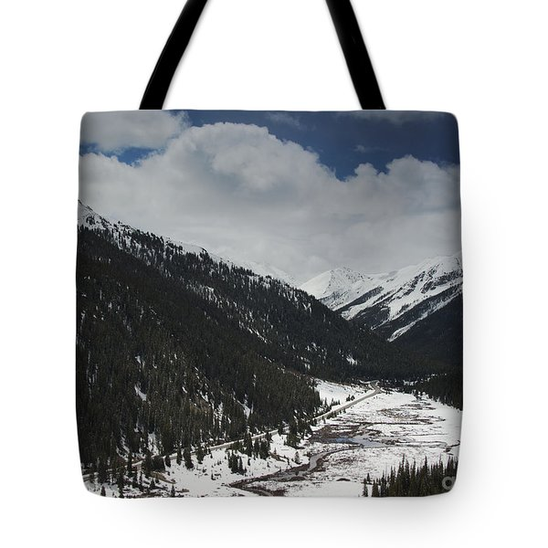 Snow At Independence Pass Colorado Highway 82 Tote Bag by Nature Scapes Fine Art