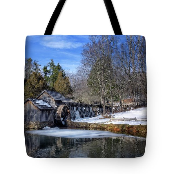 Snow At Mabry Mill Tote Bag