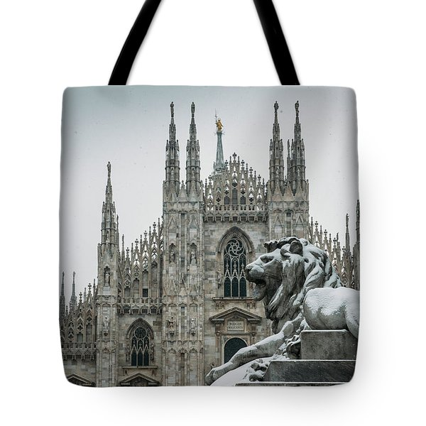 Snow At Milan's Duomo Cathedral  Tote Bag