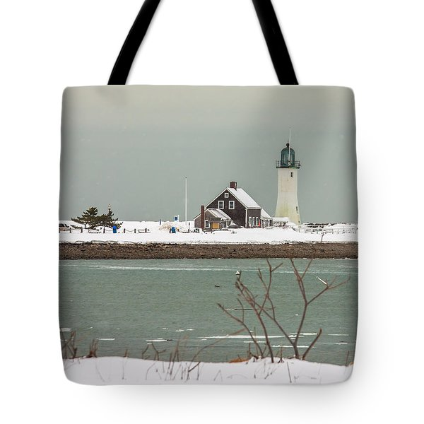 Snow At Scituate Lighthouse Tote Bag