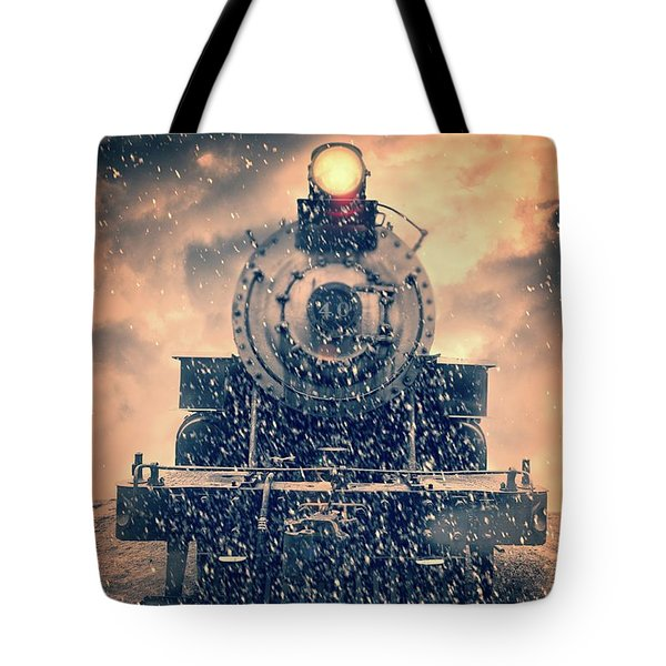 Tote Bag featuring the photograph Snow Bound Steam Train by Edward Fielding