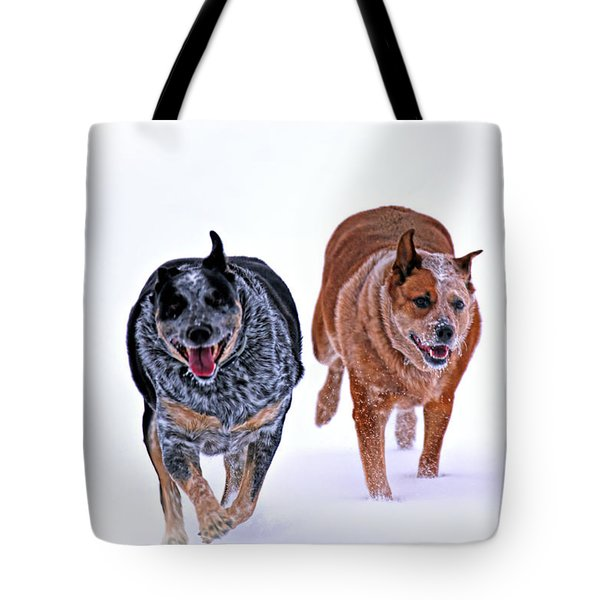 Snow Buddies Tote Bag by Elizabeth Winter