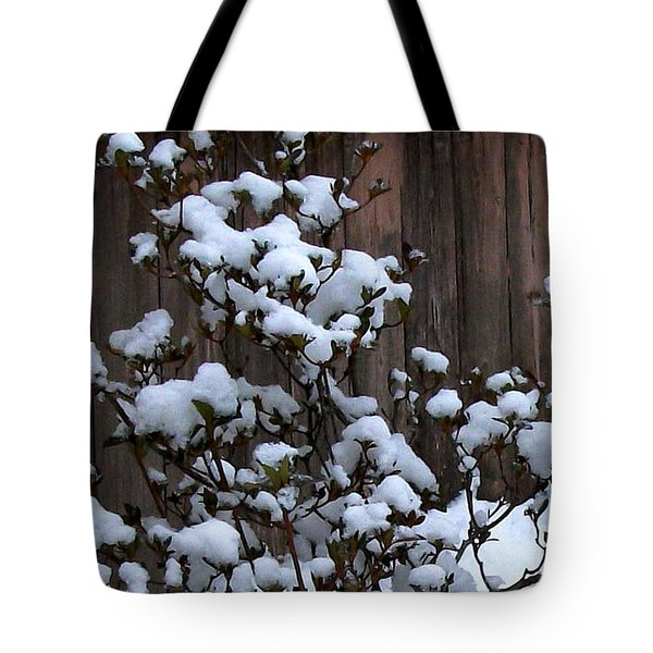 Tote Bag featuring the photograph Snow Bush Abstract by Skyler Tipton