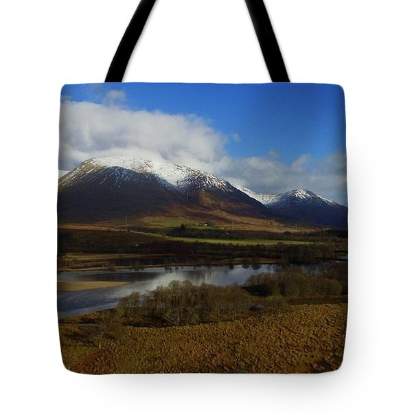Snow Cap Mountains Tote Bag