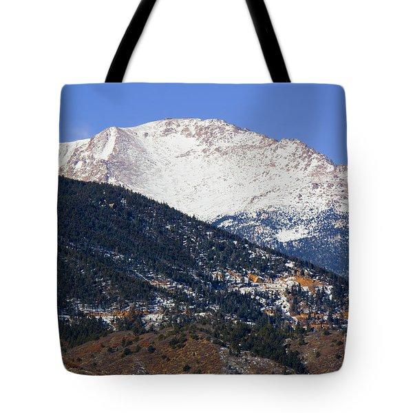 Snow Capped Pikes Peak In Winter Tote Bag
